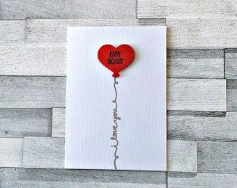 Love Birthday Card, Boyfriend, Girlfriend, Wife, Husband, Cute Love Card, Balloon Heart Happy Birthday, I Love You, HBILU