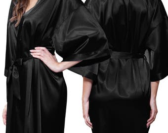 Black Satin Kimono Robe - Glitter Monogram Personalization - Bridal Party Bridesmaid Robe