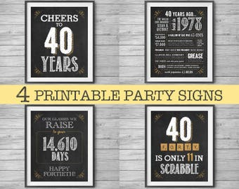 40th Birthday Signs, 8x10 Printable Party Decor Supplies, 1978, 4 Unique Chalk Signs, Instant Digital Downloads, DIY Print at Home
