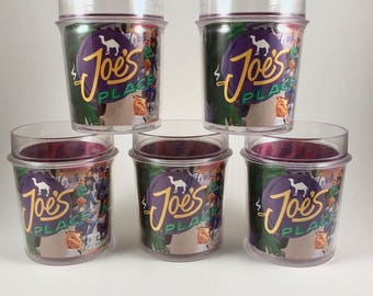 Joe Camel Plastic Tumblers, Camel Cigarettes Joe's Place Thermal Mugs, ThermoServ, Thermal Drinking Glasses, 12 oz, Tobacco Collectibles