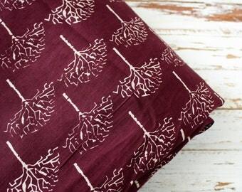 1 yard of Santoon Fabric, Indian Polyester Fabric, Tree Print Fabric, Plum Purple Fabric