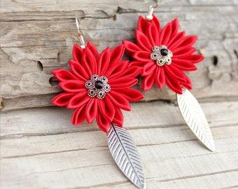 Red earrings Red flower earring Bridesmaid gift ideas for her Birthday gift for girlfriend Dangle earring Drop earring Kanzashi Leaf earring