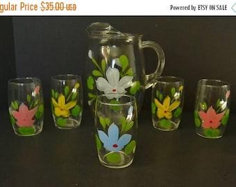 On Sale Vintage Flower Pitcher and Juice Glasses Set