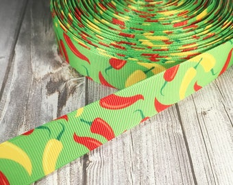 Chilli pepper ribbon - Peppers ribbon - Food ribbon - Serrano peppers - Picante peppers - Spicy ribbon - Funky ribbon - Hair bow ribbon