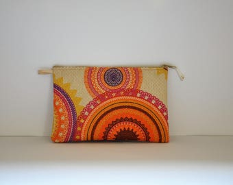 small clutch bag in coated canvas and faux