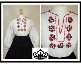 60s/70s Embroidered Boho/Bohemian Vyshyvanka Blouse, Long Bishop Sleeves, Folk, Ethnic, Hungarian, Folkloric, White, Red, Black, Size M / L