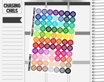 Target Circle Icons #MCS3 Premium Matte Planner Stickers