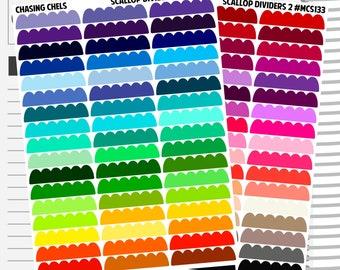 Scallop Dividers #MCS132-133 Premium Matte Planner Stickers
