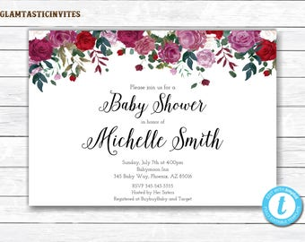 Floral Baby Shower Invitation Template, Floral Invitation, Girl Floral Invite, Floral Baby Shower Invitation, Baby Shower Invitation, DIY
