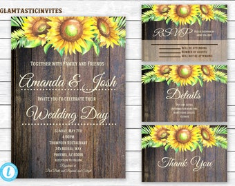 Sunflower Wedding Invitation TEMPLATE, Sunflower Wedding Invitation, wedding invitation suite, INSTANT Download, You Edit, Template, Digital