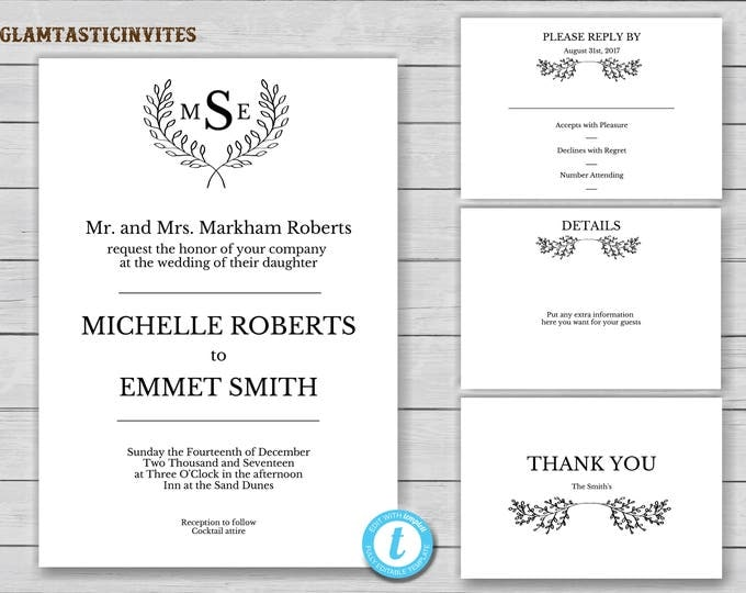 Monogram Wedding Invitation Template, Wedding Invitation Set Template, Wreath Wedding Invitation, Wedding Template, YOU EDIT, DIY, Printable