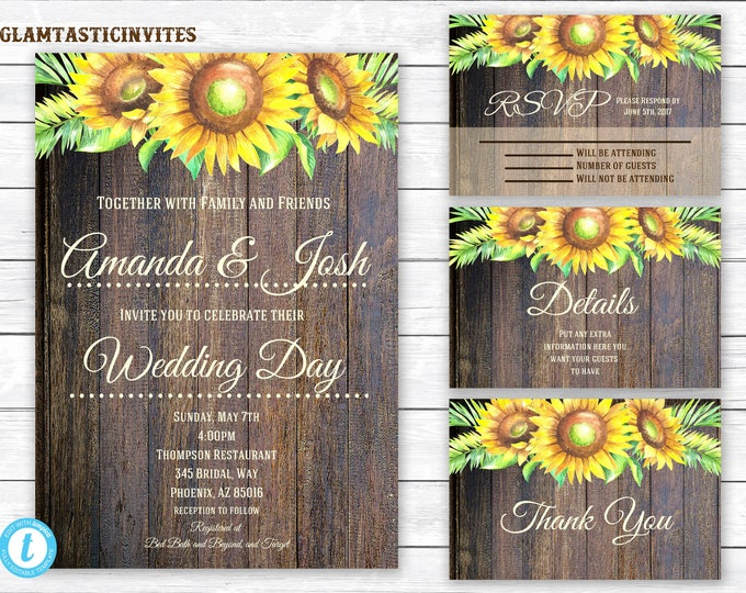 Rustic Wedding Invitation TEMPLATE, Sunflower Wedding Invitation, wedding invitation suite, INSTANT Download, You Edit, Template, Sunflower