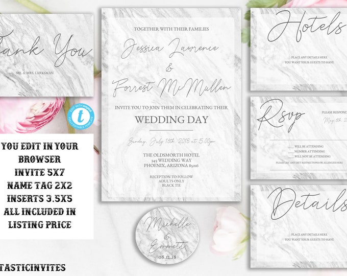 Marble Wedding Invitation Template, Wedding Invitation Template, Marble, Calligraphy, Wedding Invitation Suite, Instant Download, You Edit