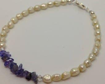 Fresh water pearl and tanzanite braclet