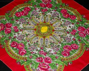 Red floral scarf Bohemian Shawl Ukrainian Shawl Gift for her Shawl Wedding Shawl Bridesmaid Shawl boho red scarf Russia wool Shawl Accessory