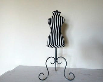 Jewellry Stand, Dress Form, Mini Mannequin, Pin Cushion, Necklace Stand, Black and White Striped