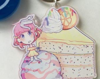 Sweets girls Lemon Acrylic Charm Keychain