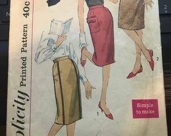Vintage 50s Simplicity 3585 Skirt Pattern-25 Waist, 34 Hip