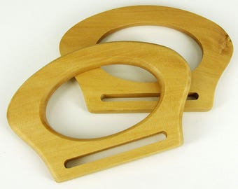Bag Handles ,Pair of Wood / wooden D Shaped for making bags Craft , Sewing BH1