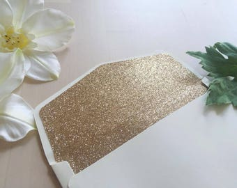Gold glitter liners envelope, wedding invitation envelope, save the date, rsvp, bridal shower, thank you card envelope