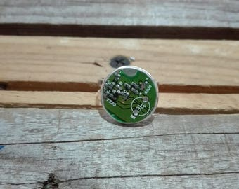 Round green circuit board ring