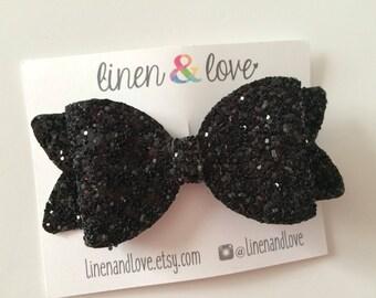 Glitter Hair Bow - Black Glitter Bow