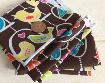 7 x Bird Fabric Pieces - Bird Swing Fabric by Michael Miller - Polyester Cotton Fabric - Fabric for Sewing - Fabric for Quilting