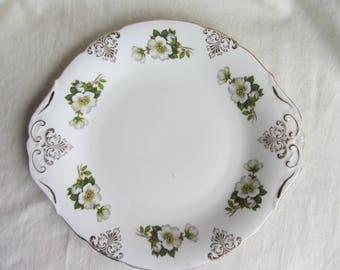 Pretty vintage Paragon 1960's cake plate, white rose, Christmas rose, wild rose, tea party, bridal shower, English bone china plate
