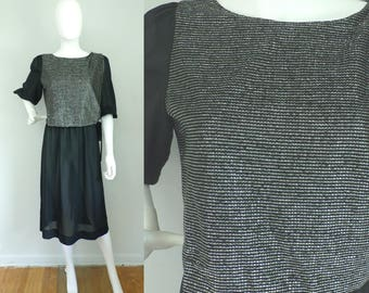 Vintage black silver sheer fancy dress , Large, 1970s fancy dress, 70s midi party dress,  3/4 sleeves, party dress, metallic, lady carol