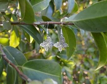 Silver Enchanted Butterfly Earrings