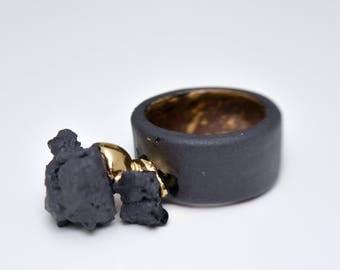 Porcelain jewelry, unusual ring, band ring, minimal ring, gold ring, black ring, ceramic jewelry, coctail ring, black ceramic ring,
