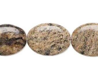 "Tan 20x15mm Flat Oval Natural Golden Feldspar Gemstone Beads (16"" Strand)"