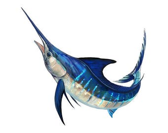 Striped Marlin, Striped Marlin Fishing, Striped Marlin Decal, Striped Marlin Sticker - **Preorder Ships August 25th**