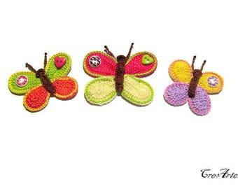 Set 3 crochet butterfly appliques,Set 3 farfalle colorate all'uncinetto per applicazioni