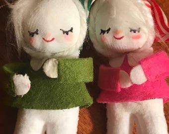 Vintage 1950's Flocked Snowman Snowpeople Kitschy Ornaments