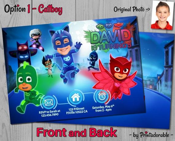 PJ Masks Invitation - Customizable Photo - PJ Masks Invite - Choose your hero: Catboy, Gekko, Owlette