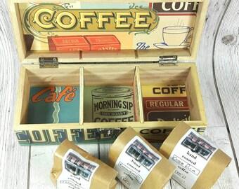 Personalised Coffee Box includes 3 packs of freshly ground Coffee