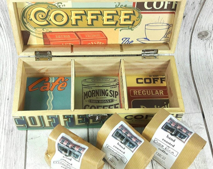 Featured listing image: Personalised Coffee Box includes 3 packs of freshly ground Coffee