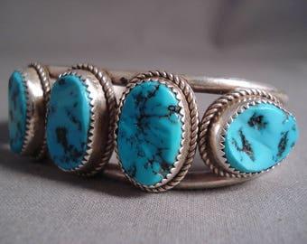 Chunks Of Turquoise Vintage Navajo Silver Bracelet Old