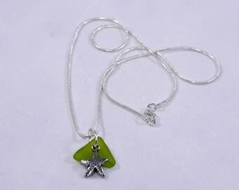 Seaglass Pendant with Starfish Charm