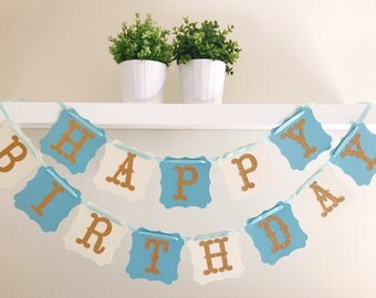 First Birthday Banner, Blue and Gold Birthday, Baby Boy Birthday, Birthday Decoration, 1st Birthday.