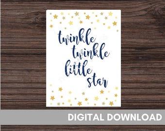 Twinkle Twinkle Little Star - Nursery Print - Baby Shower Print - Twinkle Twinkle Sign - Digital Download - Twinkle Twinkle Star Baby Shower