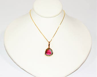 40% OFF SALE!! Rare Raw 1ct Watermelon Tourmaline Crystal 14kt Gold Pendant Necklace