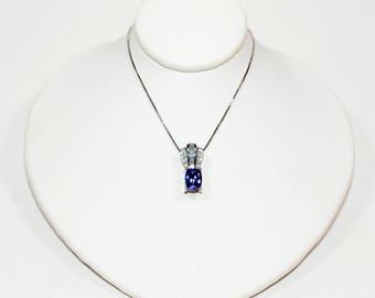 40% OFF SALE!! Majestic 1.78tcw D'Block Tanzanite & Diamond 14kt White Gold Pendant Necklace
