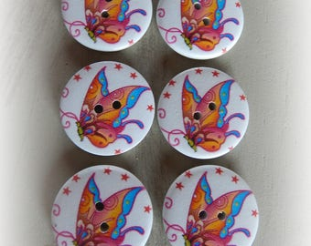 6 round multicolor Butterfly 2 holes 30 mm wooden buttons