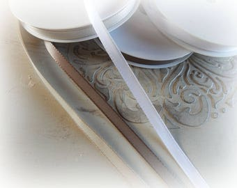 3 m - 3 different colors white, beige and taupe - 8 mm wide satin ribbon