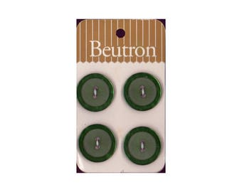 "Vintage Beutron approx. 0.8"" (2 cm) Carded Dark Green Raised Edge 2-Hole Buttons Four Pieces (B44, B45, B46)"