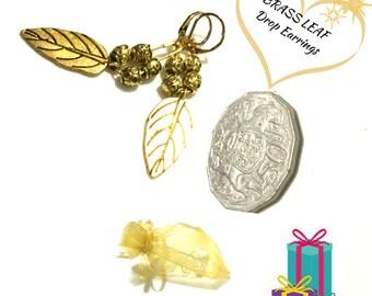 Gold Gum Nut Earrings, On Trend Earring Gift, Leaf Drop Earrings,Gal Pal Gift,Trend Setter Gift,Gold Tone Leaf Earrings, Earrings Gold