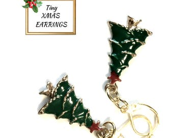Tiny Green Christmas Tree Earrings, Miniature and Delicate Party Earrings, Great Silver Xmas Earrings, Girlfriend Gift,