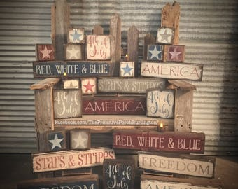Freedom. Americana block signs.